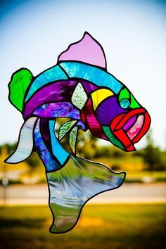 Custom Made Stained Glass Abstract Large Mouth Bass