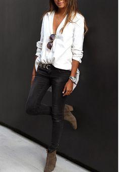 Loose blouses + black denim