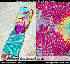 Janet's Airport Shop now has an exclusive line of Samoan Sarongs/ Lava Lavas. More Vibrant Colorful Sarongs available in different designs and color combinations in store at Janet's Airport Shop 2nd Level Faleolo   Janet's ●► http://www.facebook.com/wheresamoashops  2nd level Lotemau PH: 23371  #samoa #tattoo #samoantattoo #sarong #beachwear #beach #lavalava #polynesia #elei #pacificwear