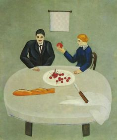 olotoivek:  David Shterenberg - Breakfast, 1916  David Petrovich Shterenberg(1881-1948) was aUkrainian-bornRussianpainterandgraphic artist. Born to aJewishfamily in Zhitomir,Ukraine, he studied art inOdessaand then from 1906-1912 based himself inPariswhere he studied with, amongst others,Kees van Dongen. Here he was influenced by the works ofPaul Cézanneand byCubism.
