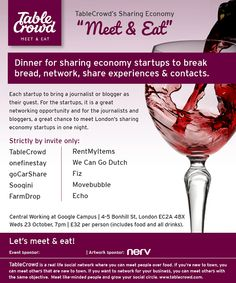 "TableCrowd's Sharing Economy Startups ""Meet & Eat"""