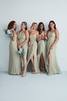 tThis chiffon bridesmaid dress is figure-flattering and oh-so pretty. The skirt is finished with a cascade ruffle slit. From lovely lavenders to dusty sage, choose a color that captures your bridal style.