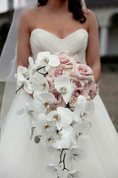 """Asymmetrical Rose-Orchid Bouquet ... add Lace Fern (""""Asparagus Fern"""") and the Rose Satin Long Rode Bud Ribbons ... and ...."""