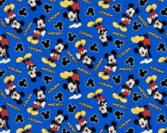 Mickey Mouse Balloons Side Stripe Custom Knit Fabric By The Yard by Half the Yard