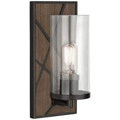 """Michael Berman Bond 12""""H Walnut and Clear Glass Wall Sconce - #18A32 