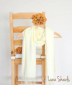 Light Yellow Shawl Wedding Shawl Solid Color Scarf by LunaShawls