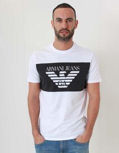 Armani Jeans white eagle block print logo tee   Accent Clothing