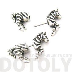 Zebra Horse Animal Shaped Fake Gauge Plugs Stud Earrings in Silver