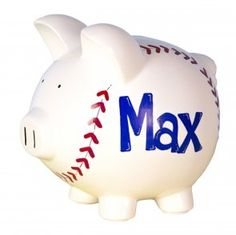 They will want to save up for tickets for the basball game with this personalized baseball design piggy bank.