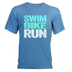 Triathlon. Swim. Bike. Run. Men's V-Neck T-Shirt. #fitness #inspiration #motivation
