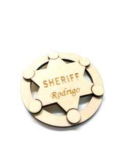 This listing is for personalized wood Sheriff brooch. This is perfect for your Childrens!