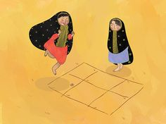 A collection of illustrations of some traditional games from Kuwait Eid Crafts, Ramadan Crafts, Ramadan Decorations, Coffee Cup Art, Girly M, Anime Muslim, Traditional Games, Happy Eid, Arabic Art