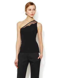 Crepe Jersey Mesh One Shoulder Top by Valentino at Gilt