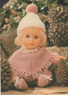 Snug and Comfy, a First Love Doll pattern from Checkers Value, June Pattern is for a knitted baby-grow and hat and a crocheted poncho. Baby Knitting Patterns, Doll Patterns, Clothing Patterns, Print Patterns, Crochet Patterns, Free Crochet, Crochet Hats, Doll Outfits, Knitted Baby