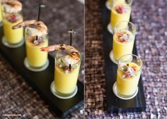 Mango Gazpacho with strawberry salsa and shrimp from #aocf