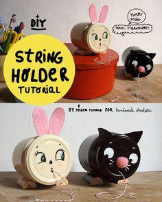DIY: String Holder by Misako Mimoko  -  Manualidades: contenedor para el hilo