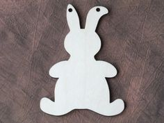 5 x Wooden Bunny Rabbit Shape Blank Hanging Gift Plaque Kids Tag 9 x 6.5cm
