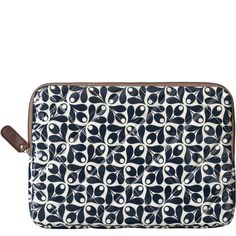 """Orla Kiely: Shiny laminate quilted 15"""" sleeve with padded pocket for laptop and additional internal patch pockets for mobile. Zip closure and brown cotton lining."""