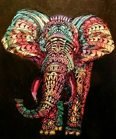 Elephant tribal line art @ Sonya Jorgensen. This would be perfect art in your bedroom :) Colorful Elephant, Elephant Love, Tribal Elephant, Elephant Shower, Elephant Colour, Elephant Stuff, Mandala Elephant, Elephant Elephant, Elephant Canvas