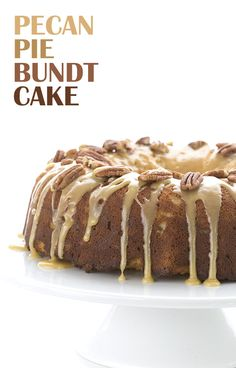 Low Carb Pecan Pie Bundt Cake. Perfect for a healthy Thanksgiving! LCHF Keto Banting THM via @dreamaboutfood