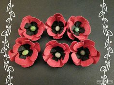 Egg carton Poppy flowers
