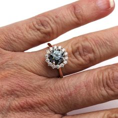 Gray Moissanite Engagement Ring Vintage Style with Diamond Halo - Rare Earth Jewelry Ruby Wedding Rings, Titanium Wedding Rings, Wedding Rings Simple, Beautiful Engagement Rings, Wedding Rings Vintage, Rose Gold Engagement Ring, Engagement Ring Settings, Bridal Rings, Vintage Engagement Rings