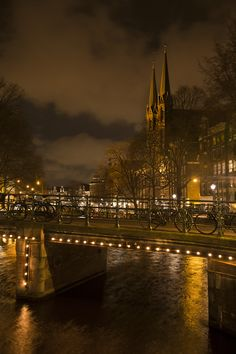 Amsterdam after dark! Amsterdam is the capital city of the Kingdom of the Netherlands. (V)