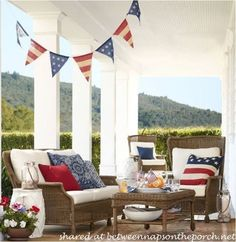 Pottery Barn Patriotic Flag Banner on Porch: The the nautical porch theme for summer