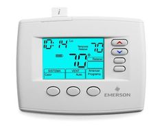 White Rodgers 1F85ST-0422 Programmable Thermostat (SPANISH LANGUAGE) by White Rodgers. $78.99. Blue Selecto Universal Single Stage, Multi-Stage (2H/2C) Or Heat Pump (2H/1C). Program Choices: 5+1+1 Day, 5+2 Day, Or Non-Programmable Digital Spanish Language Thermostat, Backlit Display, 24 Volts or Millivolt, System Switch-Heat, Off, Cool, Auto, Emer., Fan Switch-Auto,On, Profile-Horizontal, Dual Power (R-C) And/Or Batteries, Range 45-90° F. Terminals-RC,RH,C,G,W/E,W...
