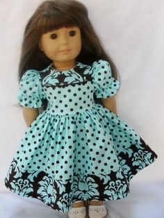 American Girl Dolls : Very pretty fabric combo American Girl Dress, American Doll Clothes, American Dolls, Sewing Doll Clothes, Doll Clothes Barbie, Pixie, Girl Dolls, Girl Outfits, Doll Stuff