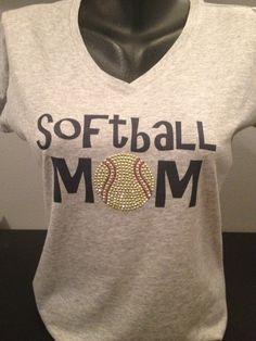 Softball Mom Bling and Print VNeck TShirt  by flashyexpressions, $14.99