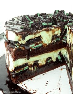 Mint Oreo Brownie Ice Cream Cake - Life Love and Sugar