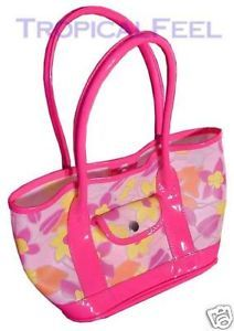 *SOLD* NEW Womens PINK Floral Flowers Beach Picnic Vinyl Tote HANGBAG BAG Spring Summer $1 sold .. we sell more WOMENS BAGS at http://www.TropicalFeel.com