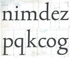 Bram de Does, work drawings for Trinité. Black ink on paper. From the book _Bram de Does · Letterontwerper & typograaf   Typographer & type designer,_ M. Lommen & J.A. Lane, 2003, De Buitenkant