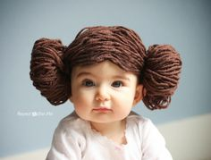 WARNING:  All my friends with baby girls will be getting one of these.  <3  Princess Leia Yarn Wig