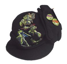 Kids Teenage Mutant Ninja Turtles Winter Green Hat Glove /& Scarf Set 2-8 Years