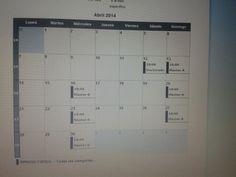 fecha de clases a impartir en el mes de abril 2014
