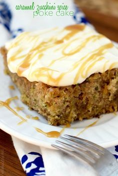 This Caramel Zucchini Spice Poke Cake is completely from scratch and insanely good!  You HAVE to make this!