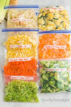 Let's start with the basics 6 steps of how to Freeze Fresh Vegetables. Potatoes, corns, carrots, celery, broccoli & more. Fresh Vegetables, Veggies, Snack Recipes, Cooking Recipes, Zucchini Squash, Family Fresh Meals, Peppers And Onions, Different Recipes, Fresh Rolls