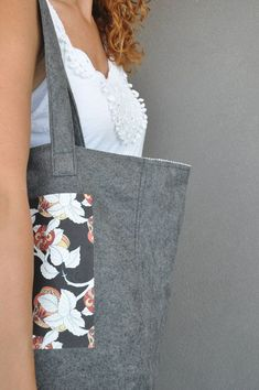 Floral tote bag, Diaper bags, Carry on handbag, Floral Grey handbag,Spring handbag, Shopping bag, Eco friendly tote, Market bag, Womens bag