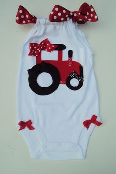 Baby Girls Big Red Tractor Romper Onesies So cute by DaintyBoTeek, $24.00