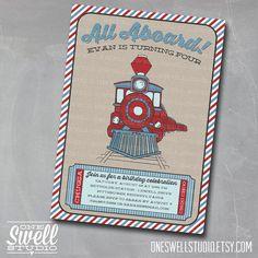 All Aboard Train - Chugga Chugga - Choo Choo - DIY Printable Birthday Party or Baby Shower Invitation on Etsy, $12.50