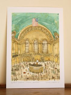 GRAND CENTRAL STATION New York Watercolor Painting, Grand Central Terminal Manhattan Nyc, Signed Giclee, New York Print by Clare Caulfield