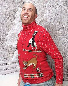 Ugly red Christmas sweater party idea.Loving this outfit for Tone!
