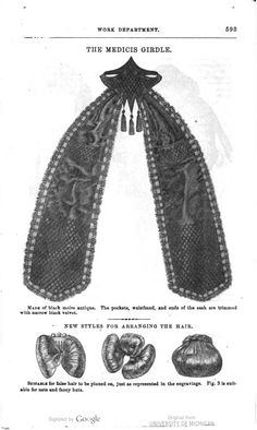 """Interesting """"girdle"""" and hair image of page 593 Godey's Ladies magazine June 1862"""