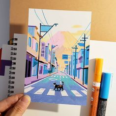 21 Days In Japan: Artist Recreates Scenes Of Japan Through Pleasing Pastel-Colored Illustrations Posca Marker, Marker Art, Gouache Painting, Painting & Drawing, Road Painting, Arte 8 Bits, Posca Art, Small Canvas Art, Arte Sketchbook