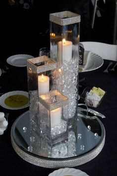 Crystal Bloom provides crystal candle arrangement centerpiece rentals to the Cleveland, Ohio and surrounding areas for weddings and special events. Centerpiece Rentals, Centerpiece Decorations, Decoration Table, Table Centerpieces, Bling Centerpiece, Bling Wedding Decorations, Table Decorations For Parties, Christmas Centerpieces, Dollar Store Centerpiece