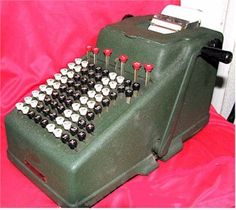 I didn't use a calculator. I used my parents' adding machine. Ours looked like this only in black cast iron.