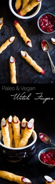 Vegan & Paleo Witch Finger Cookies - The classic, spooky Halloween cookie get a healthy, gluten free, paleo AND vegan makeover! They're easy to make and always a hit at parties!   Foodfaithfitness.com   @FoodFaithFit