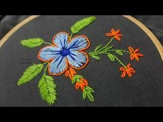 Hand Embroidery Flower Design Lazy Daisy & Buttonhole Stitch by Amma Arts - YouTube